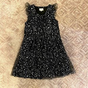 Girls BCBG Blk/Silver Star Party Dress-Sz 12 MINT!